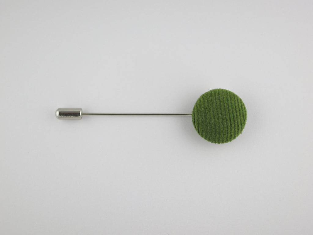 Pin Lapel Fabric Button, Corduroy, Green - SuitedMan