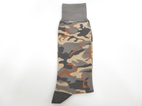 Socks, Camo, Gray/Brown