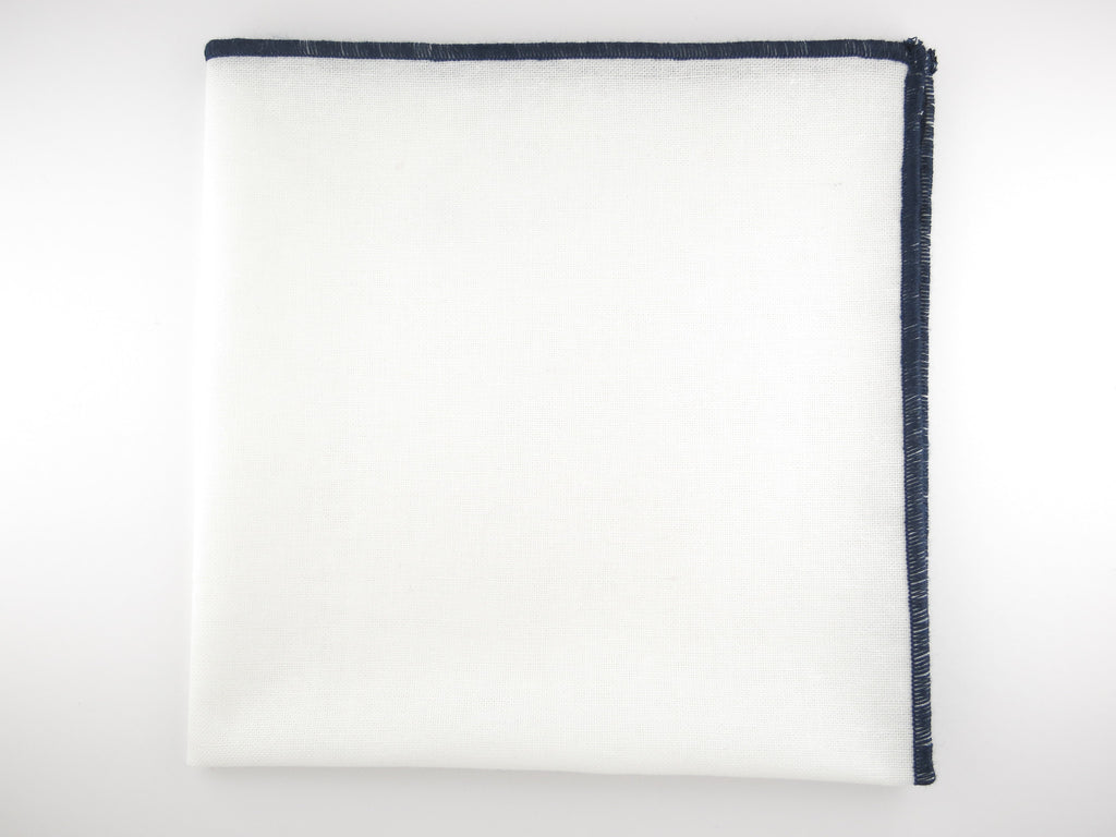 Pocket Square, Linen, White/Navy - SuitedMan