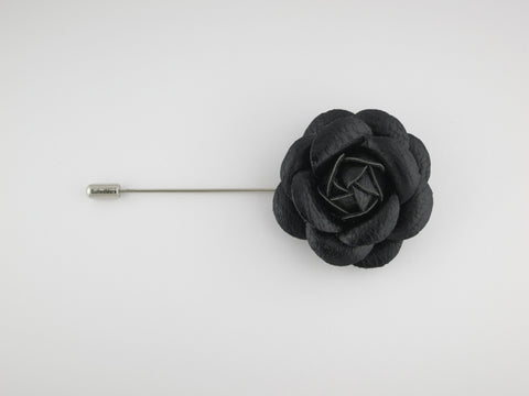 Lapel Flower, Leather Camellia, Black