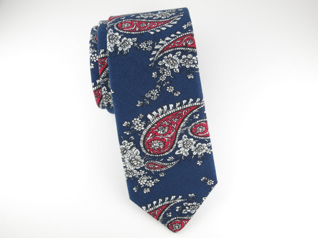 Tie, Navy/Red Paisley - SuitedMan