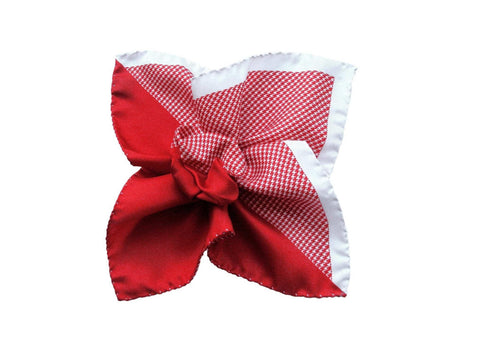 Pocket Square, Multi-Panel, Houndstooth, Red - SuitedMan