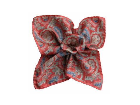 Pocket Square, Vintage Coral Paisley