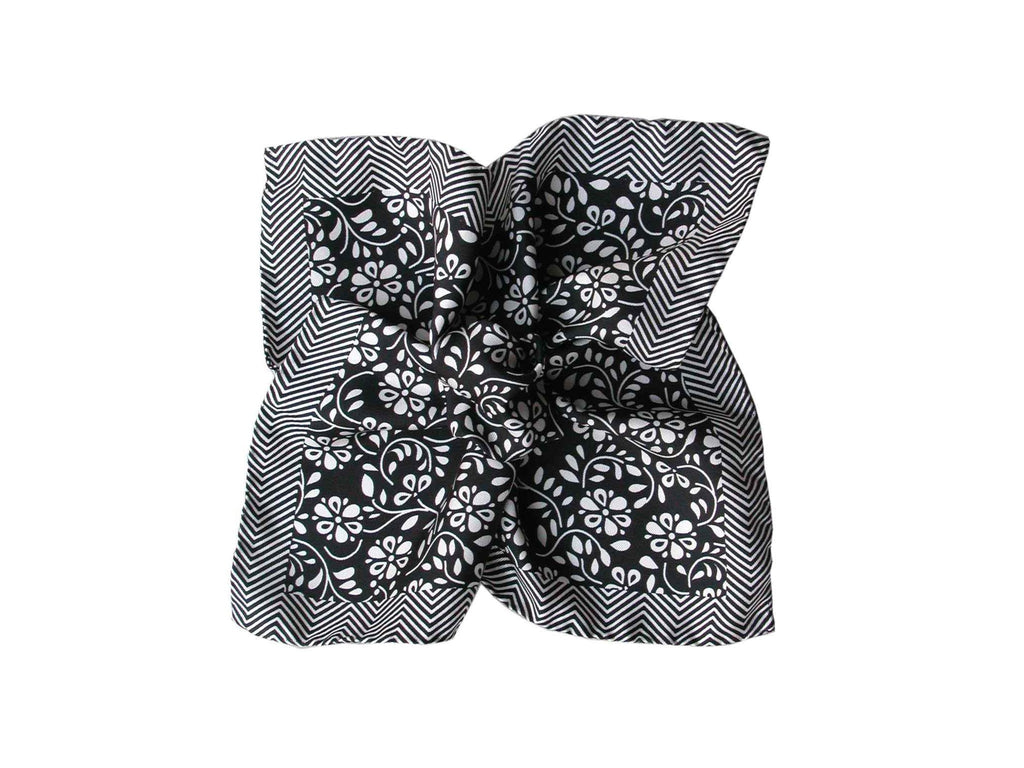 Pocket Square, Herringbone Floral, Black - SuitedMan