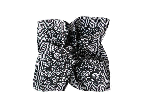 Pocket Square, Herringbone Floral, Black