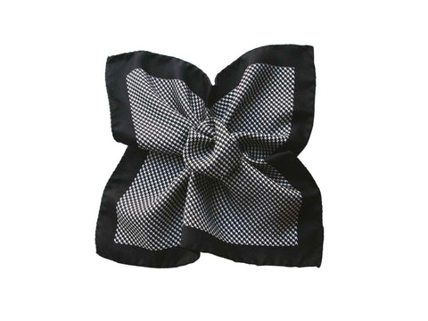 Pocket Square, Houndstooth, Onyx