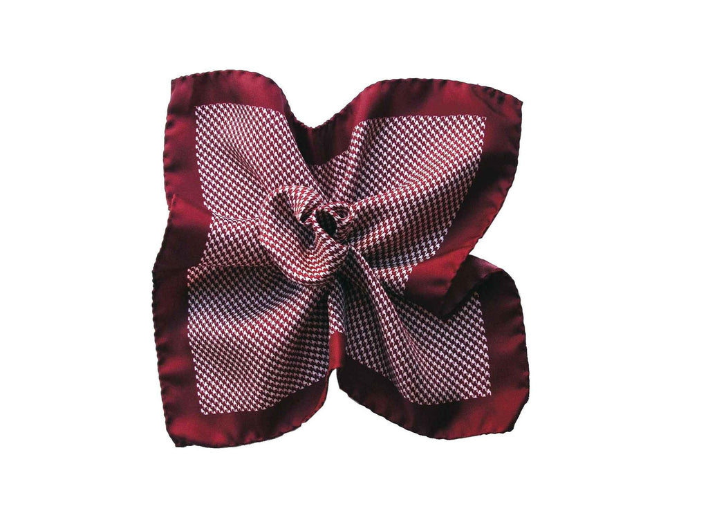 Pocket Square, Houndstooth, Burgundy - SuitedMan