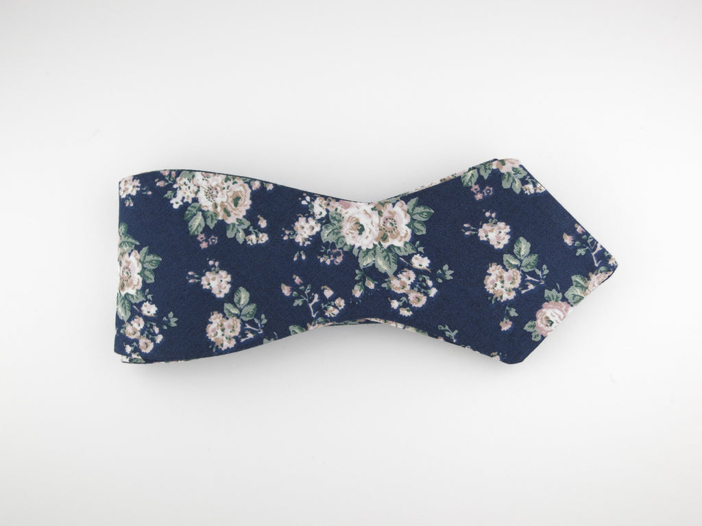 Floral Bow Tie, Vintage Bloom, Pointed End - SuitedMan