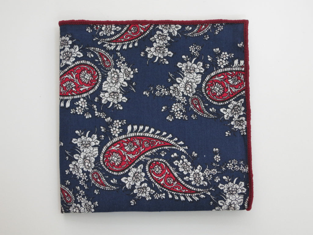 Pocket Square, Navy/Red Paisley - SuitedMan