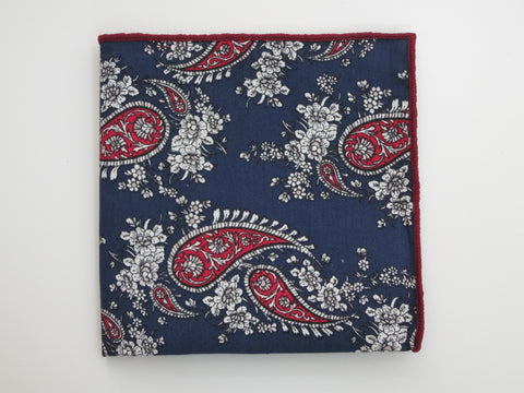 Pocket Square, Navy/Red Paisley