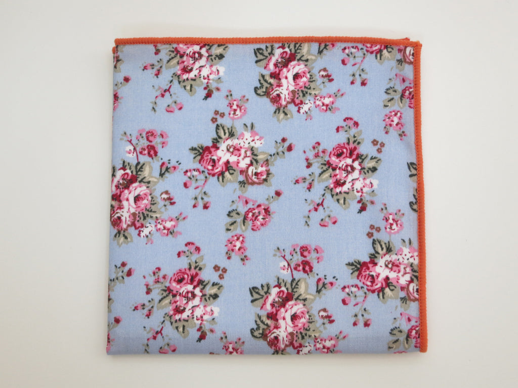 Pocket Square, Blue Vintage Bloom - SuitedMan