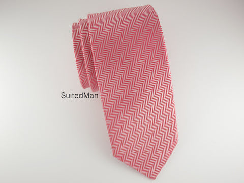 Tie, Herringbone, Red Coral