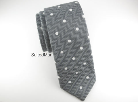 Tie, Herringbone Dots, Gray - SuitedMan