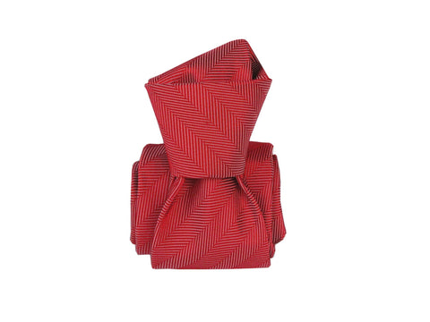 SuitedMan D'Italia Tie, Herringbone, Red - SuitedMan