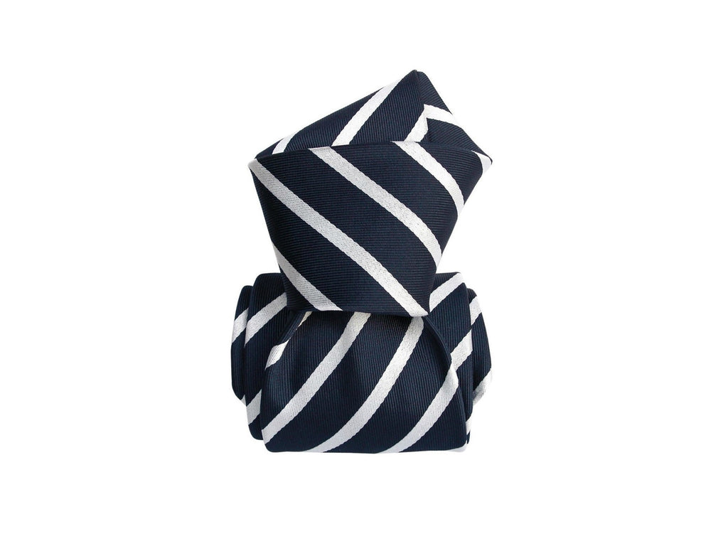 SuitedMan D'Italia Tie, Stripes, Navy/White - SuitedMan