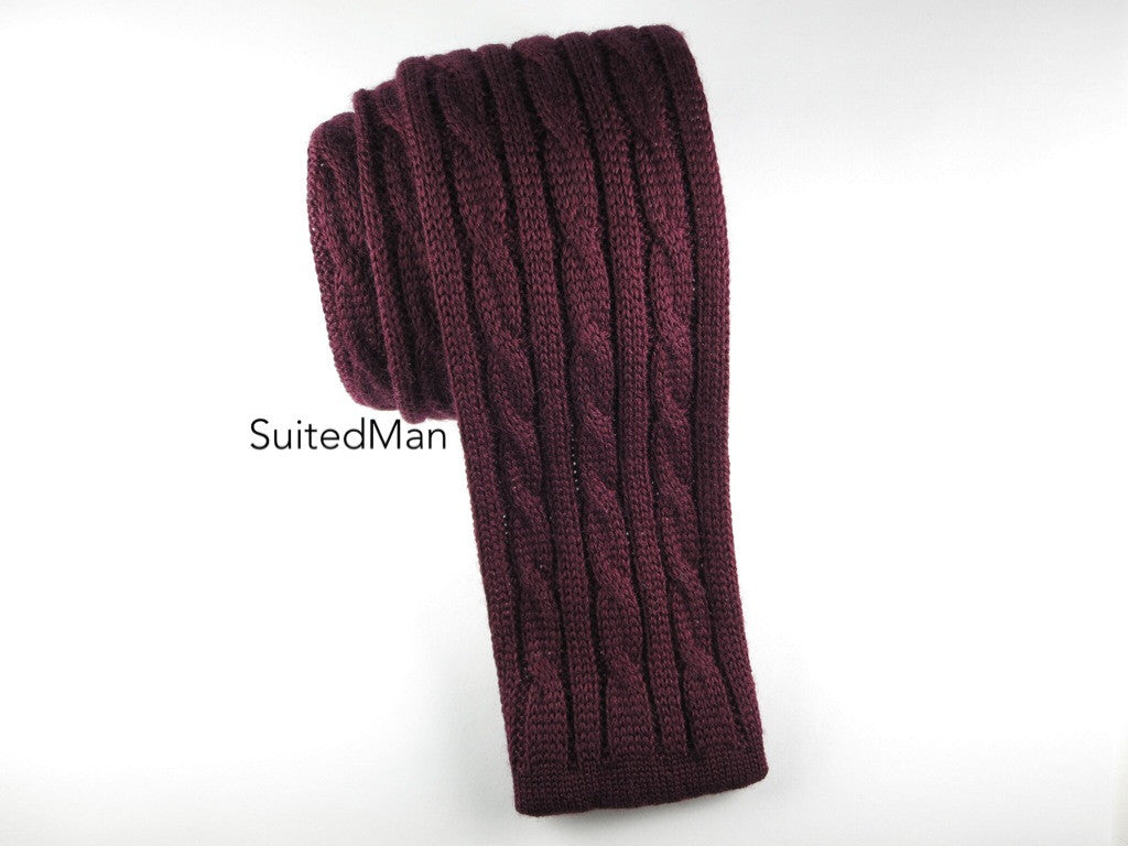 Knit Tie, 3 Cord Cable Knit, Burgundy - SuitedMan