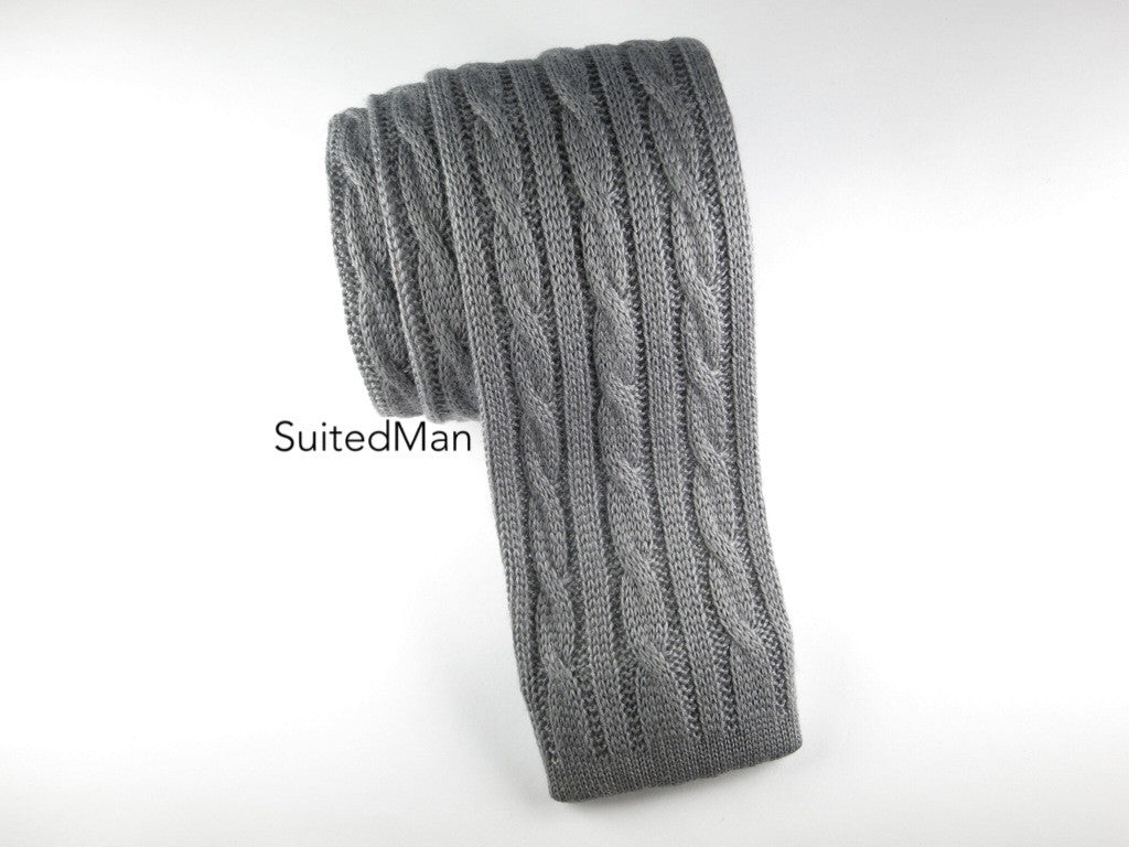 Knit Tie, 3 Cord Cable Knit, Gray - SuitedMan
