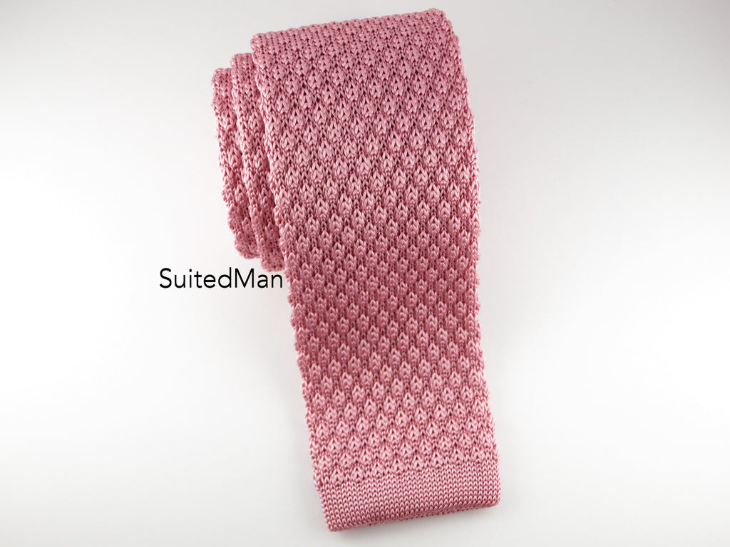 Knit Tie, Textured, Antique Rose - SuitedMan