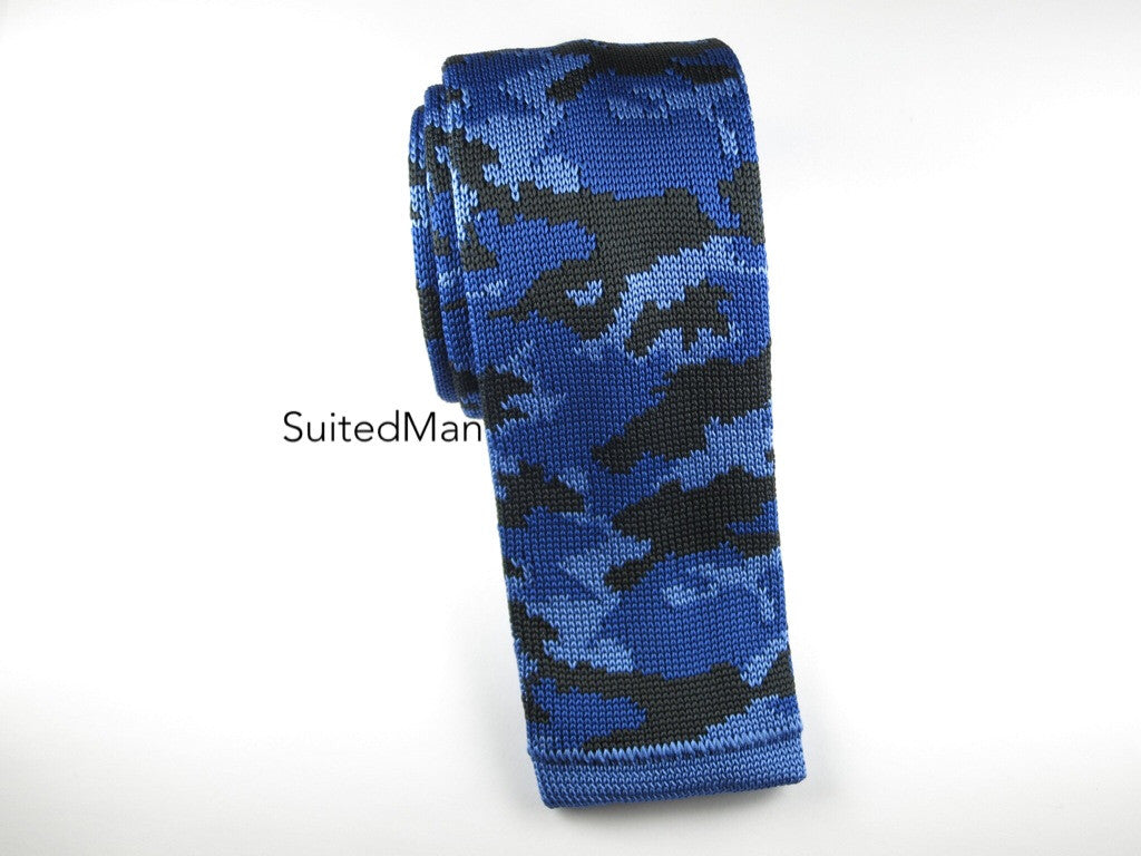Camo Knit Tie, Blue - SuitedMan
