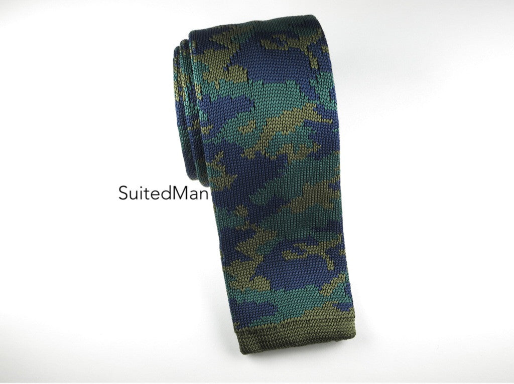 Camo Knit Tie, Green - SuitedMan