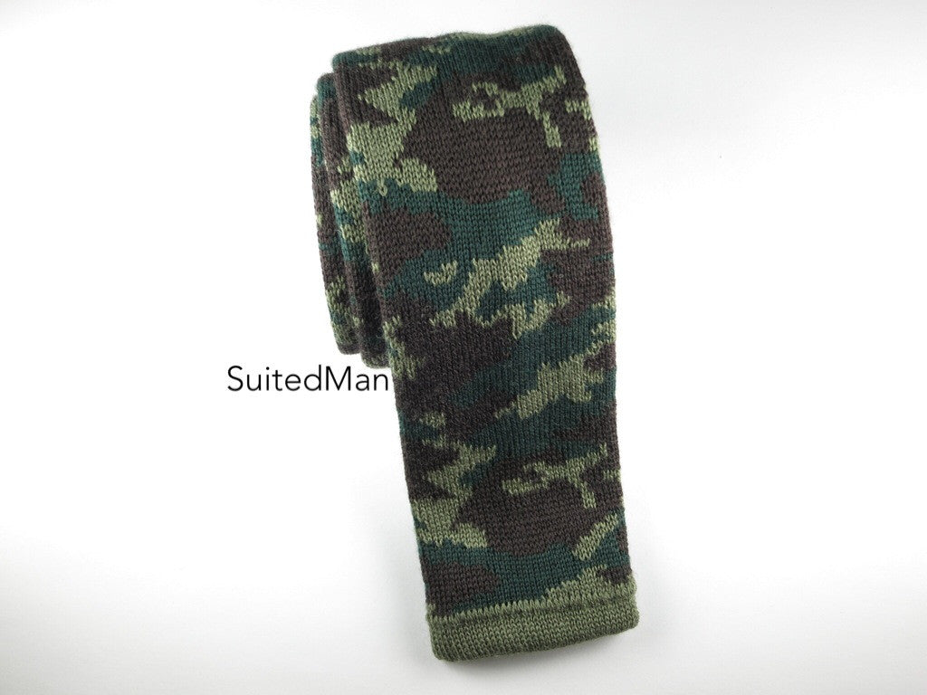 Camo Knit Tie, Green, Wool - SuitedMan