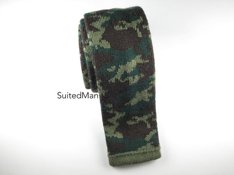 Camo Knit Tie, Green, Wool