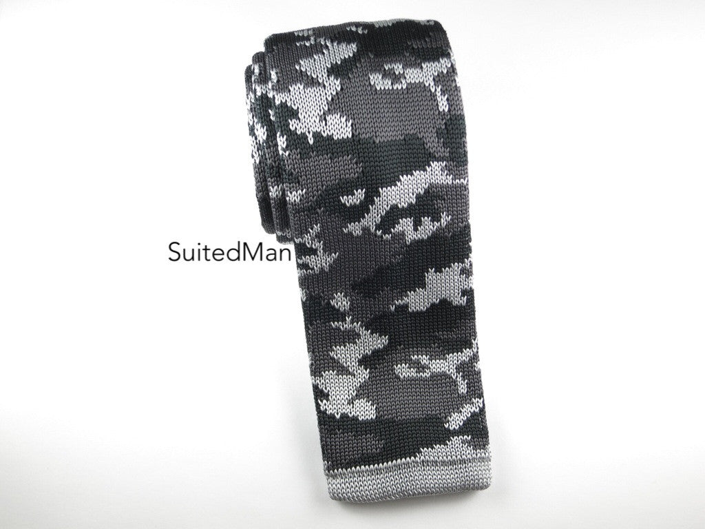 Camo Knit Tie, Gray - SuitedMan