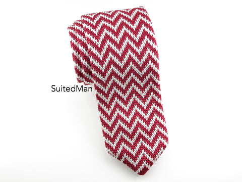 Knit Tie, Chevron, Red - SuitedMan