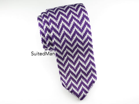 Knit Tie, Chevron, Purple - SuitedMan
