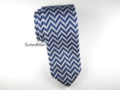 Knit Tie, Chevron, Navy - SuitedMan