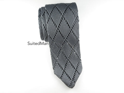 Crochet Knit Tie, Gray - SuitedMan