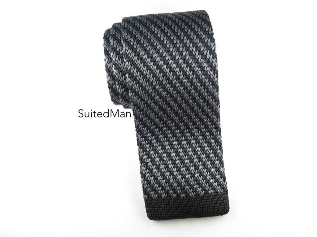 Knit Tie, Gray/Black Diagonal Stripes - SuitedMan