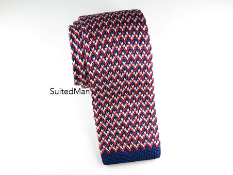 Knit Tie, Red/White/Blue Herringbone - SuitedMan