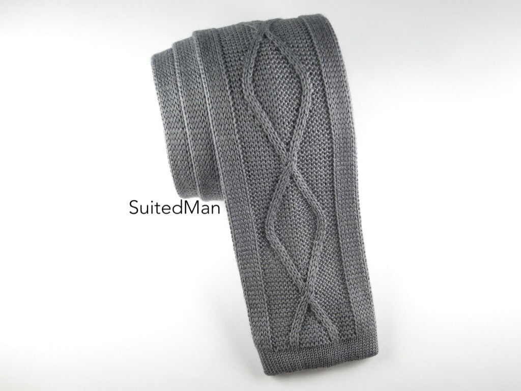 Knit Tie, Helical Cable Knit, Gray - SuitedMan