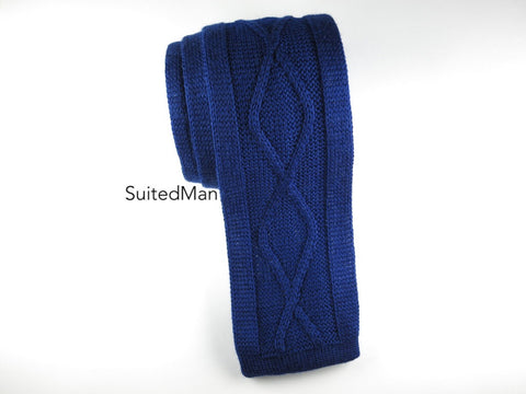 Knit Tie, Helical Cable Knit, Blue Violet