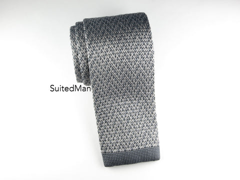 Knit Tie, Gray Herringbone - SuitedMan