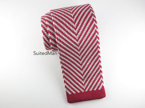 Knit Tie, Herringbone, Red/White