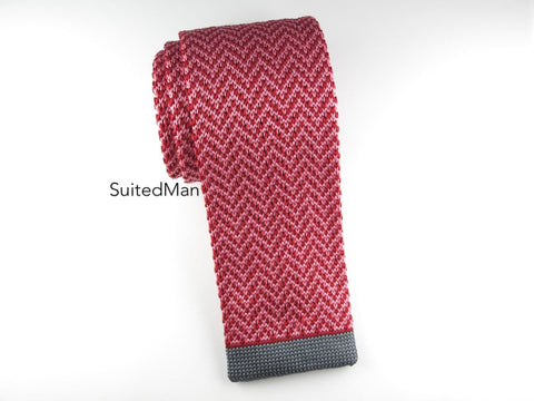 Knit Tie, Red Herringbone