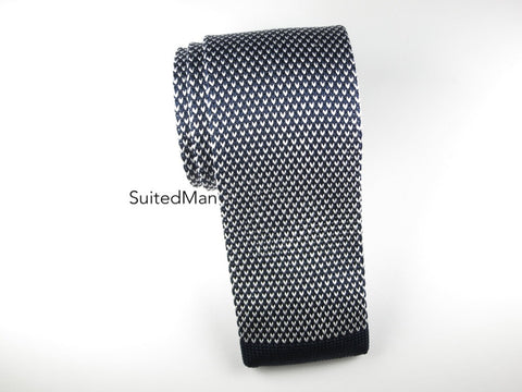 Knit Tie, Pindot, Navy/White