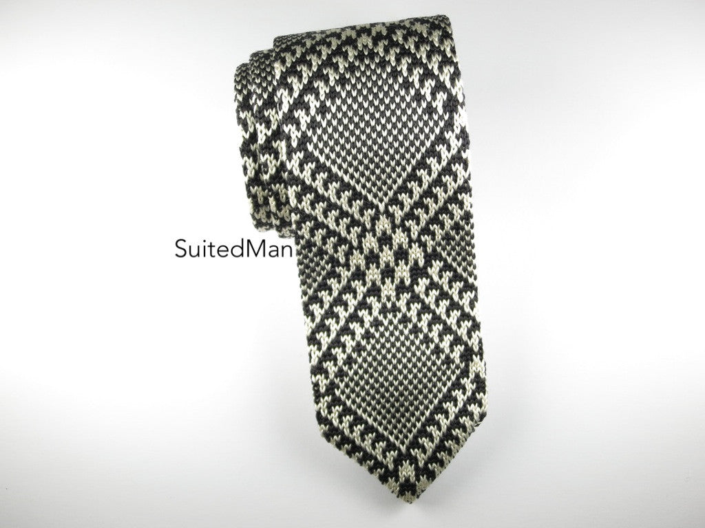 Knit Tie, Black/White Diamond Plaid - SuitedMan
