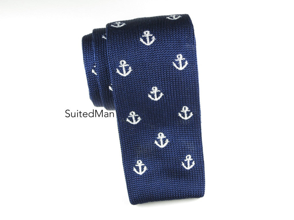 Knit Tie, Navy Anchors - SuitedMan