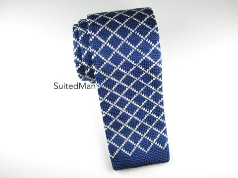 Knit Tie, Navy Diamond