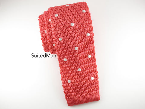Knit Tie, Polka Dots, Coral/White - SuitedMan