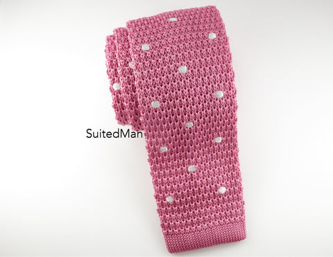 Knit Tie, Polka Dots, Pink/White