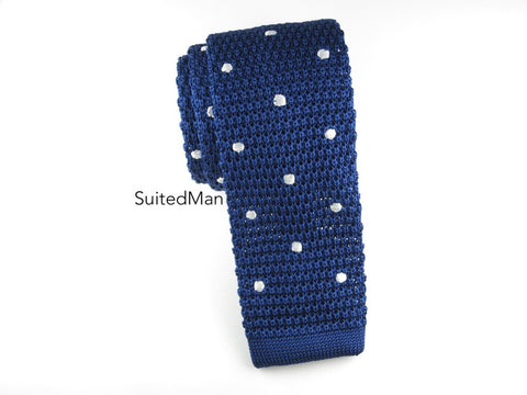 Knit Tie, Polka Dots, Navy/White, Silk