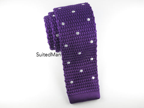 Knit Tie, Polka Dots, Purple/White