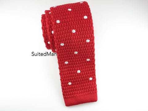 Knit Tie, Polka Dots, Red/White - SuitedMan