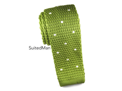 Knit Tie, Polka Dots, Spring Green/White - SuitedMan