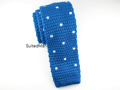 Knit Tie, Polka Dots, Blue/White, Silk