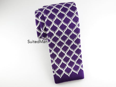 Knit Tie, Purple Diamond
